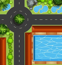 Park with pool and ponds vector