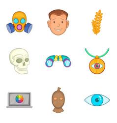 Perception icons set cartoon style vector