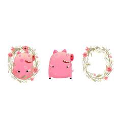 piggy pig in flowers cartoon vector image