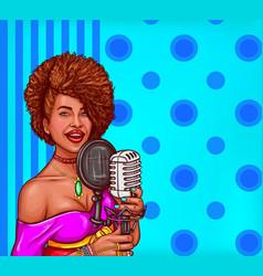 pop art a black woman sings vector image