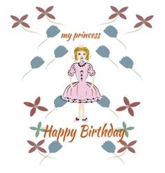 Princess pink birthday card vector