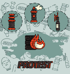protest flat concept icon vector image