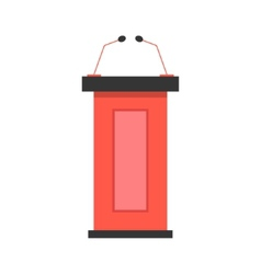 red tribune icon with microphones vector image
