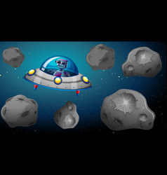 robot in space ship vector image