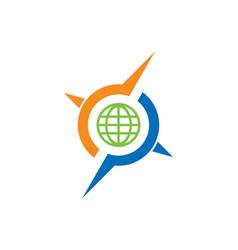round globe arrow compass logo vector image