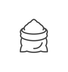 Sack line outline icon and malted flour sign vector