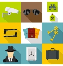 Scout icons set flat style vector