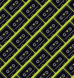 seamless cassette tape pattern vector image