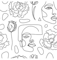 Seamless pattern continuous line art vector