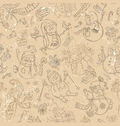 seamless pattern of cute snowmen vector image