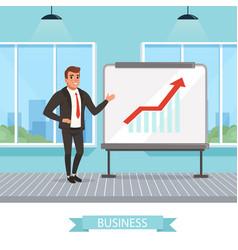 self-confident businessman standing near vector image