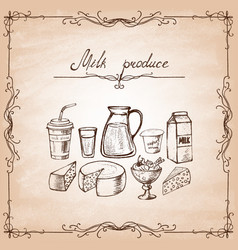 set dairy products on old paper vector image