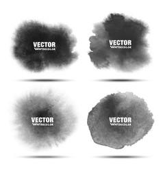 Set dark gray black watercolor circle stains vector
