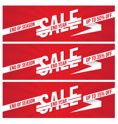 Set end year sale banner vector