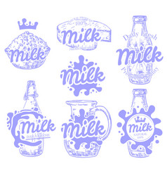 Set fresh and natural milk emblems vector