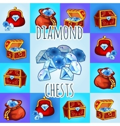 Set of diamond icon chest bag with gemstone vector