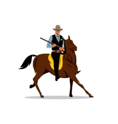sheriff with gun and horse cartoon vector image