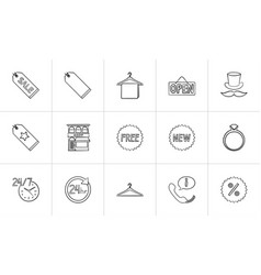 shopping hand drawn outline doodle icon set vector image