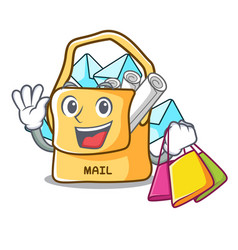 Shopping the bag with shape mail cartoon vector