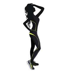 Silhouette of the girl in clothes for fitness vector