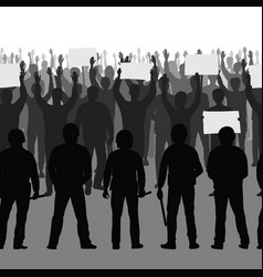 silhouettes protesting people with hands and vector image