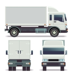 Small truck front back and side view for cargo vector