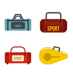 sport bag icon set flat style vector image