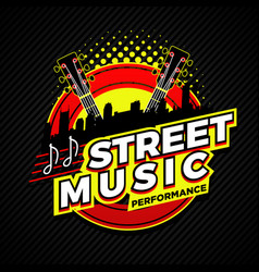 street country music performance logo symbol badge vector image