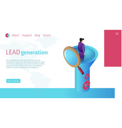 Successful lead generation specialist flat banner vector