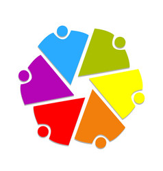 Teamwork business people and chart logo vector