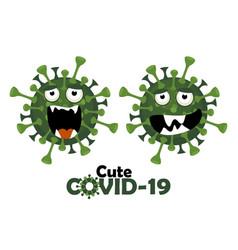 The cartoon character cute covid-19 virus vector