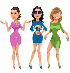 Three glamorous girls vector image