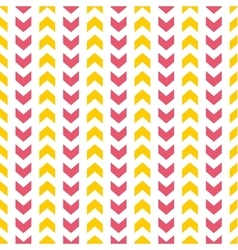 Tile pattern with yellow and pink arrows on white vector image