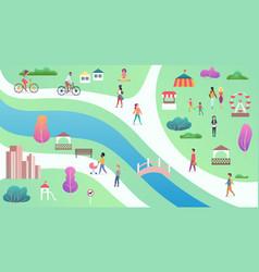 top view city public park with river bridge vector image