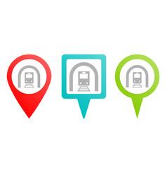 train tunnel pin icon multicolor pin icon vector image