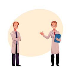 two doctors in medical coats holding stethoscope vector image