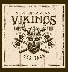 viking skull and crossed axes brown emblem vector image