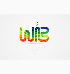 wb w b rainbow colored alphabet letter logo vector image