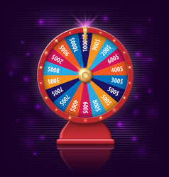 Wheel of fortune with glowing lamps for online vector