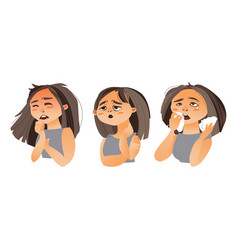 Woman having flu - fatigue runny nose cough vector