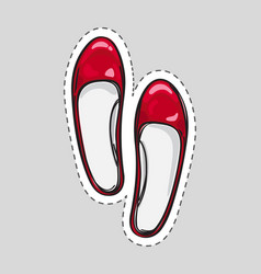 women high heel shoes patch with dashed line vector image