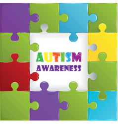 World autism awareness day with colorful puzzle vector