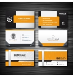 Yellow buisness card with light wooden texture vector image