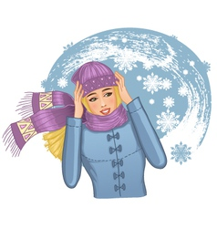 Young woman in snowstorm vector image
