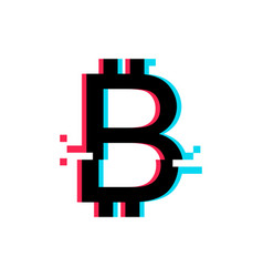 bitcoin sign in glitch style vector image