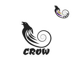 black crow logo on a white background raven vector image vector image