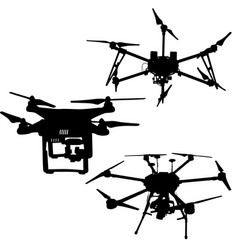black set silhouette drone quadrocopter on white vector image