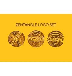 Detailed hand drawn zentangle logo set vector
