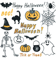 Hand drawing halloween set vector image