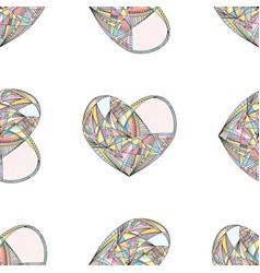 hearts seamless pattern hand drawn vector image